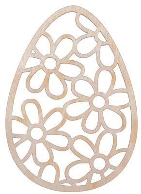 Jajko duża pisanka ażur sklejka kwiaty 10cm D33
