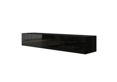 Современная тумба RTV черная блеск 2in1 160 см