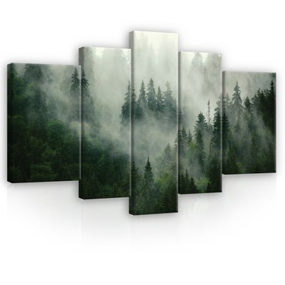 Картина на холсте ЛЕС В ТУМАНЕ горы триптих 170x100