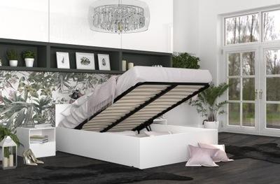 Łóżko Podnoszone Biel PANAMA 140x200 + Materac