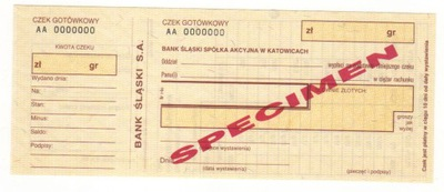 czek specimen Bank Śląski SA BSK