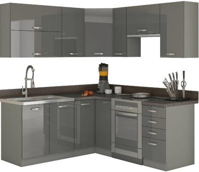 Мебель Кухонные угловые 190x170 см / Серый блеск