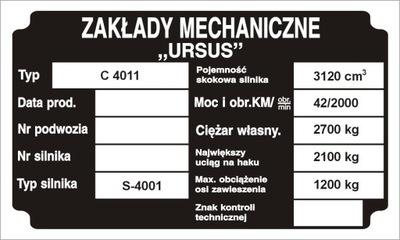 TABLICZKA НОМИНАЛЬНАЯ WYBITA URSUS C330 C360 C4011, фото