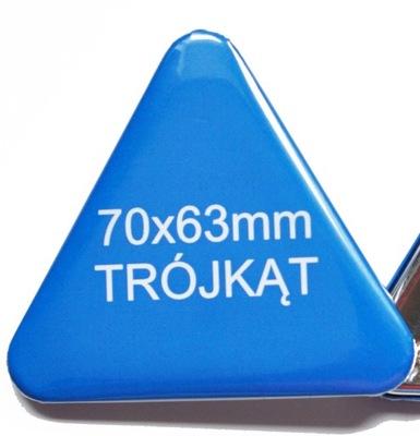 Przypinki Buttony Trójkąt Nietypowe 70x63mm 100szt