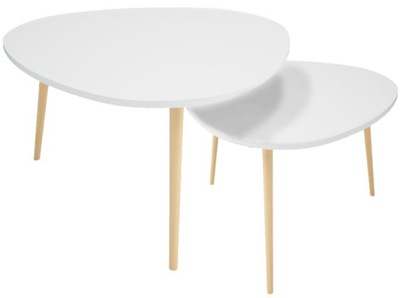 Журнальный столик скандинавский Белый скамья комплект 2шт