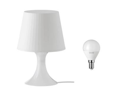 IKEA LAMPAN BIAŁY Lampa stołowa + żarówka 200 lum