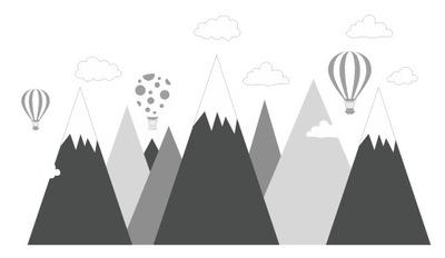 наклейки для детей на стену гора, горы, воздушный шар XXXL