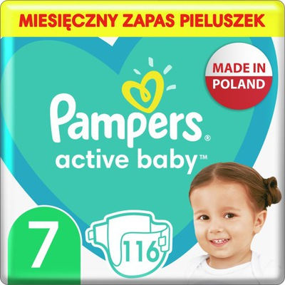 Pampers Pieluchy Active Baby 7 monthly box 116 szt