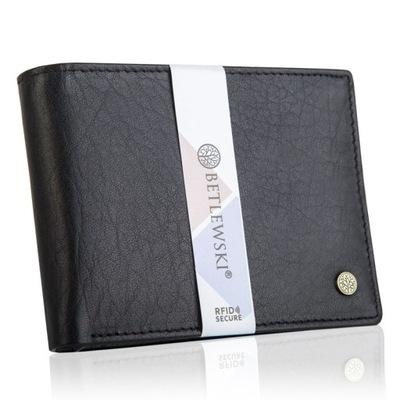 b879df7aab894 Skórzany portfel męski BETLEWSKI ochrona RFID duży 6648837832 ...