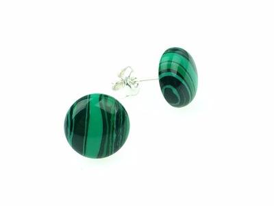 kolczyki zielone malachit srebrne 925 sztyfty 10mm
