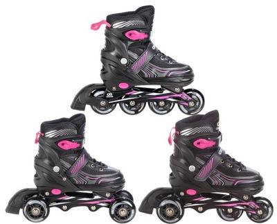 Valčeky-kolieskové Korčule 3 v 1 Croxer Optima Black/Pink 35-38