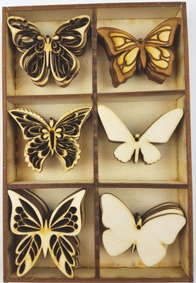 MOTYLE Drewno Sklejka 30szt 5cm Motyl Decoupage