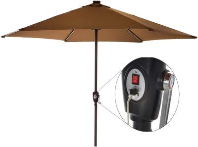 3m SOLÁRNE parasol LED + SOLÁRNE USB 300 cm