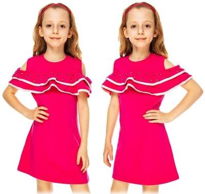 124fa1f72d Rozkloszowana sukienka dla dziewczynki 68 FUKSJA - 7551682242 ...