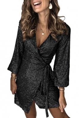 Cekinowa sukienka koktajlowa czarna kopertowa 40 L