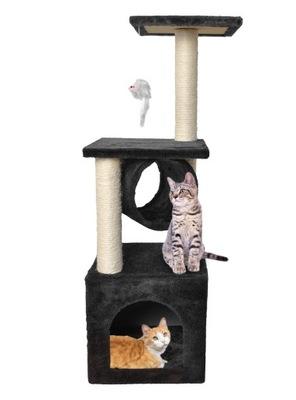 Veža so škrabadlom pre mačku, 90 cm, čierny dom