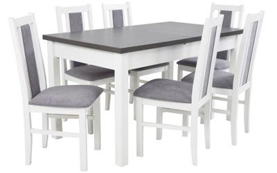 БЕЛО Серый комплект стол 80x140x180 и 6 СТУЛЬЯ