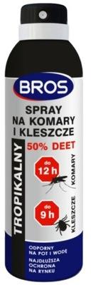 Bros SPRAY NA KOMARY I KLESZCZE 50% DEET 180 ml
