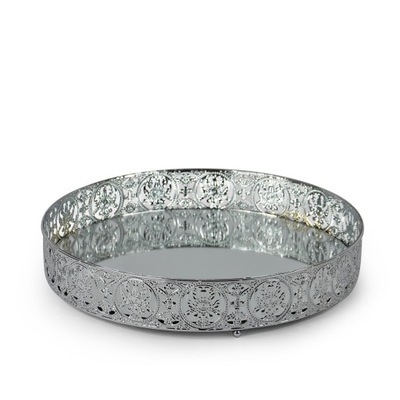 Лоток металлический зеркальный круглая 25 см