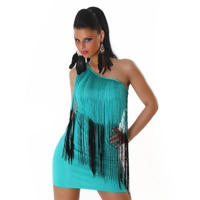 f53c6b26ae Sukienka frędzle butelkowa zieleń r48 - 7669888469 - oficjalne ...