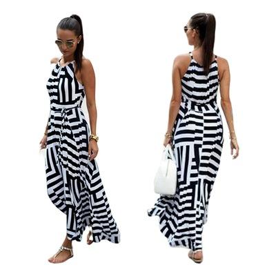 914ce1d740 sukienka długa plażowa paski wiązana letnia GRECKA