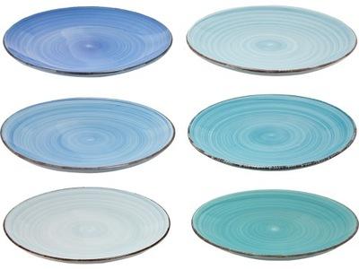 Keramický tanier 27 cm MODRÁ MIX sada 6 Ks