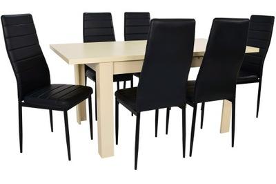стол 80x120/160 + 6 стулья комплект Крем /Черный