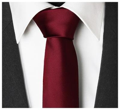 MIKROFIBRA Wąski 6cm Gładki Krawat BORDOWY gs36
