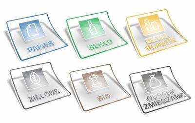 Zestaw 6x Naklejki Transparentne 10cm kosz śmieci