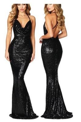 Cekinowa dluga sukienka 610559 czarna suknia SMLXL