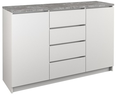 КОМОД 2D4S 120СМ белый бетон B22 4 ящик двери
