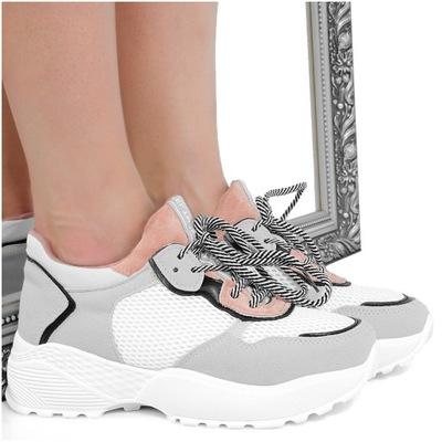 c6fc82783be1ba Szare Sneakersy - Sportowe Botki na Koturnie 37 - 7446573205 ...