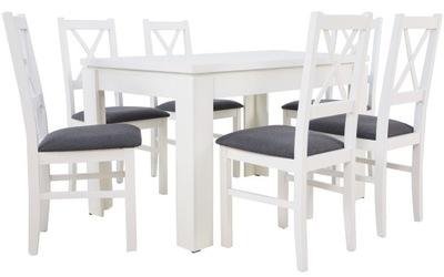 Белый стол раскладной 160 6 деревянных стульев