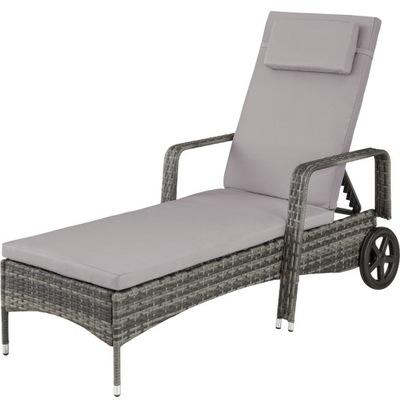 Lehátko záhradný nábytok rattanowy sivá 403225
