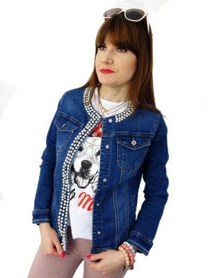 fa4cd246fed39 Kurtka jeansowa z perełkami Melanera 36 (S) 7275219670 - Allegro.pl