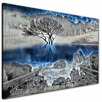 КАРТИНЫ на холсте Дерево вода Синий