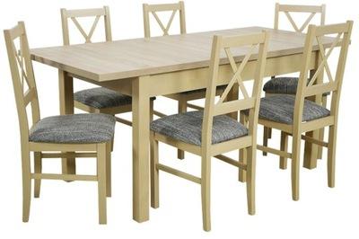 стол ROZKADANY 80x140x180 и 6 стульев из ДЕРЕВА