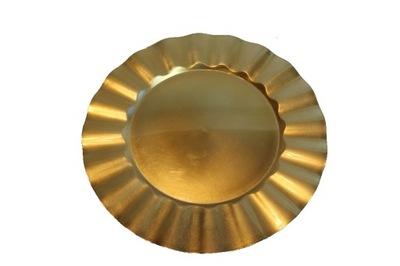 Talerz podtalerz złoty 32,7cm ślub przyjęcie FALA