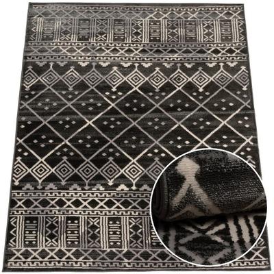 Modny dywan wysoki fryz wzór boho szary 120x160 cm