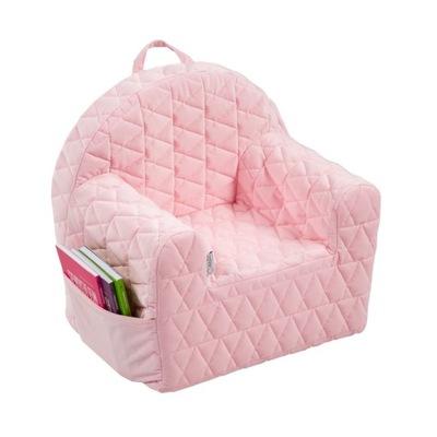 FOTEL fotelik dla dziecka pufa VELVET różowy