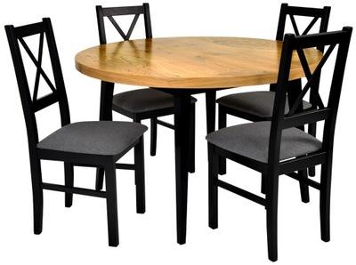 скандинавский комплект стол 120 см + 4 черные стулья