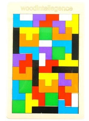 Drewniane puzzle układanka klocki TETRIS tacka
