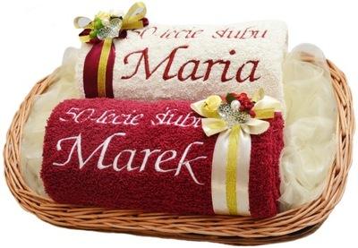 Ręczniki z Haftem KOSZ Prezent na Rocznicę Ślubu