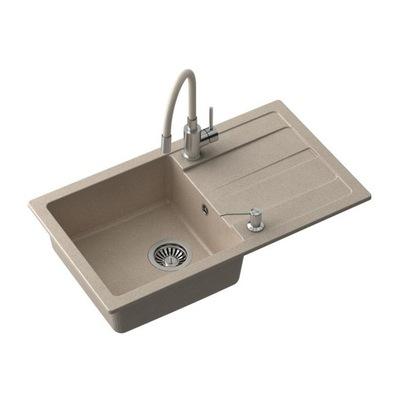 Granitový drez + faucet + sifón + béžová zástrčka