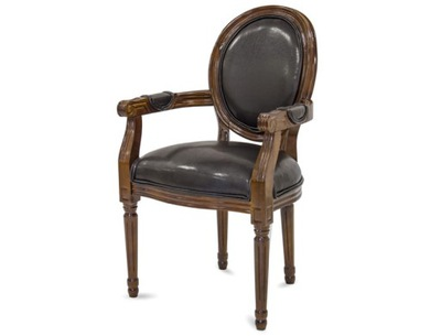 Rzeźbiony fotel tapicerowany z podłokietnikami
