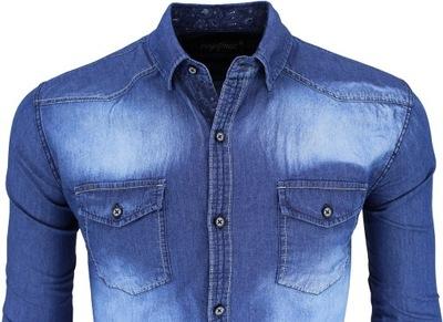 Koszula Jeansowa jeans 654 100% bawełna slim XL