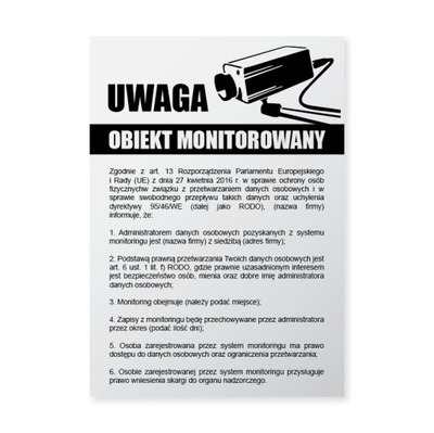 Tablica RODO naklejka Obiekt Monitorowany A4