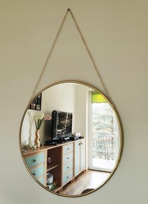 Okrúhle zlaté zrkadlo / kruh na retiazke, opasok 80