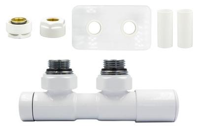 Regulačný ventil Dvojčatá 50 mm biele + konektor Cu + rozety vpravo
