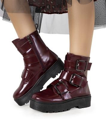Bordowe botki traperki damskie obuwie BL2072-3 41
